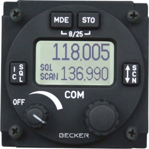 F.027 AR 6201-(022) Becker Flugfunkgerät 6 W. 8,33/25 kHz.Kanalraster