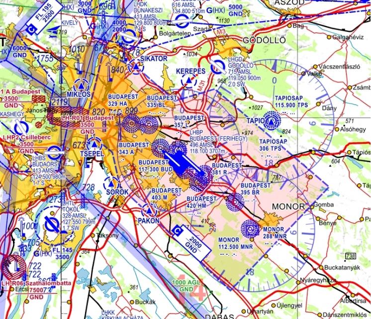 Topographische Karte Ungarn.V500 Lh Digitalisierte Karte Vfr 500 Ungarn