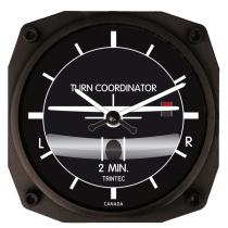 GA.010f Wanduhr im Cockpit-Design Turn and Bank