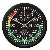 GA.013d Wanduhr rund im Cockpit-Design Percent RPM