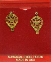 P.006b Ohrstecker Ballon goldfarben (Paar)